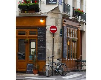 Paris Photography, Paris Print, Bike Art, Bicycle Print, Paris Cafe Print, La Bicyclette Bicycle Art, Paris Decor - Rue De La Colombe