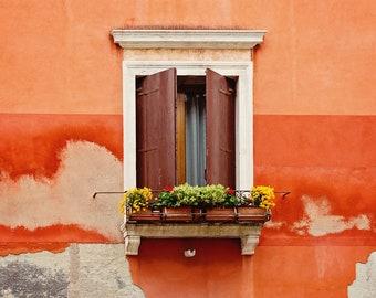 Venice Italy Window Photography Print, Bold Italy Colors Wall Art, Large Wall Art Print, Venice Architecture Decor