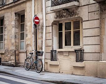 Paris Decor, Paris Photography, Bicycle in Paris Photograph, Paris France Art Print, Travel Photography - Parked at Ile Saint-Louis