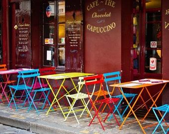 Paris Decor, Colorful Paris Bistro Cafe, Paris Photograph, Montmartre, Fine Art Photograph, Paris Print - Cafe Color