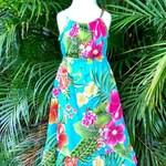 Girls Hawaiian Maxi Dress Handmade in Hawaii Turquoise Moani