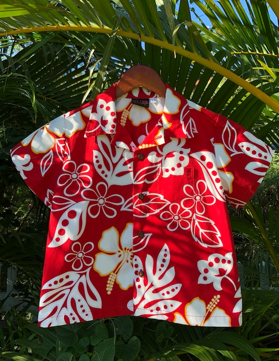 Laua'e rouge à la main / Hibiscus hawaïen Aloha Shirt Made in Hawaii 6mo à 11/12