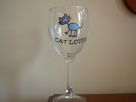 Cat Wine Glass Handpainted Personalized Cat Lover Gift Etsy