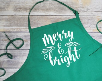 Christmas Apron - Merry and Bright apron - Monogrammed Apron - Kitchen Apron - Perfect Seasonal Apron - Merry and Bright