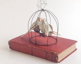 Book Lovers - Two Lovebirds in a Birdcage - Altered Vintage Book