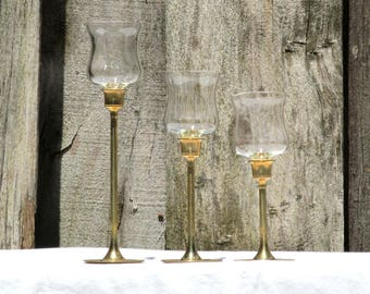 Vintage Brass Candlestick Collection, Set of Three, Graduating Sizes
