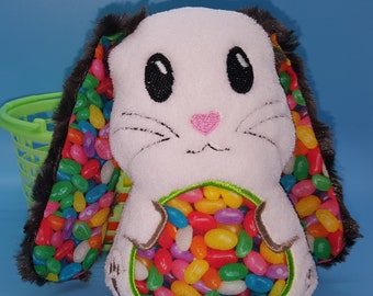 Soft stuffed white with brown rose minky floppy eared bunny with jelly beans featured in tummy and ear accent fabric