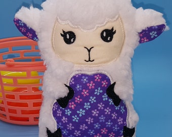 Soft stuffed sheep with purple flower print featured in tummy accent fabric