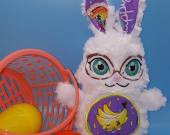 Soft stuffed white rose minky bunny w/Shopkins bananas featured in tummy & ear accent fabric w/big teal eyes