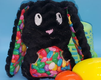 Soft stuffed eyes open black zig zag minky floppy eared bunny with jelly beans featured in tummy and ear accent fabric