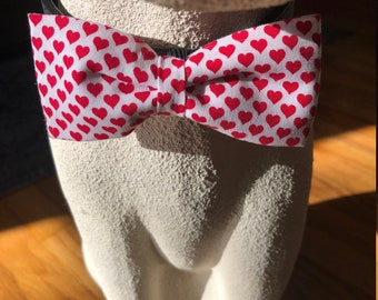Red Hearts Dog Bow Tie