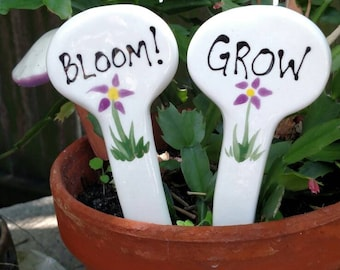 Bloom and Grow plant and garden markers.