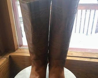 35842b4e5198 Leather Steer Horn Embroidered Southwestern Boots sz 7.5