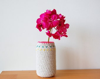 The Summer Garden - A Crochet Up-cycled Glass Flower Vase
