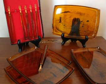 Vtg Lucite Mid Century Tortoise Shell 12 Piece Snack Tray and Fork Set