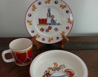 Vtg Tiffany and Co Masons Ironstone England Toys Soldier Childs Mug Bowl and Plate 3 Piece Set