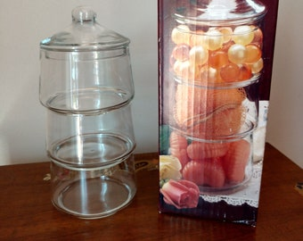 Vtg Indiana Glass Staxet 4 Piece Candy Craft Stacking Jars Tower Set NEW New in Box