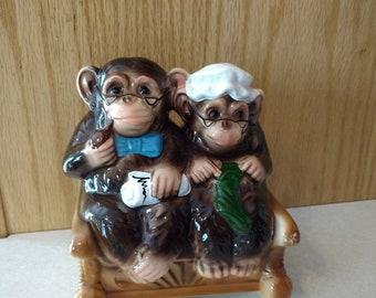 Vtg Ceramic Ma and Pa Monkey  Rocking Chair Retirement Bank Japan