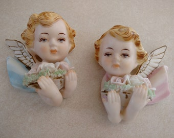 Vtg Norcrest Japan Bisque Hand Painted Pink Blue Cherub Angel Wall Hangings