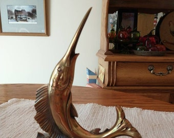 1970s Nautical Brass Marlin Sailfish Bookend Figure