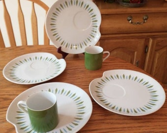 Vintage Mikasa China Mid Mod Green Blue Diamond Cup and Snack Plate