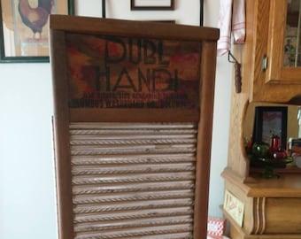 Vintage Dubl Handi Washboard Laundry Wood Wall Cabinet
