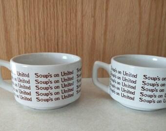 Vintage United Airlines Soups On Ceramic Mug Set