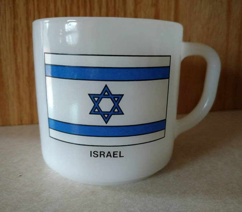 Federal Israel Jewish Star Flag Blue White Milk Glass Mug image 0