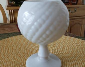 Antique French Clambroth Handmade Beaded Swirl Pedestal Ivy Bowl