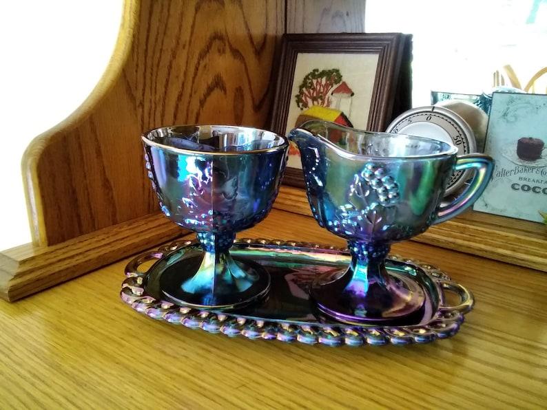 Colony Glass Harvest Grape Carnival Blue Iridescent 3 PC Open image 0