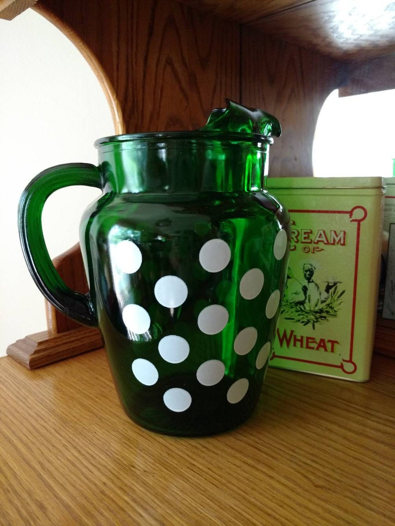 Anchor Hocking Anchorglass Forest Green Polka Dot Ice Lip image 0