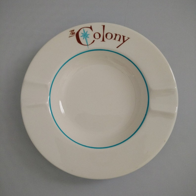 Harker Pottery Harkerware The Colony Atomic Turquoise Round image 0