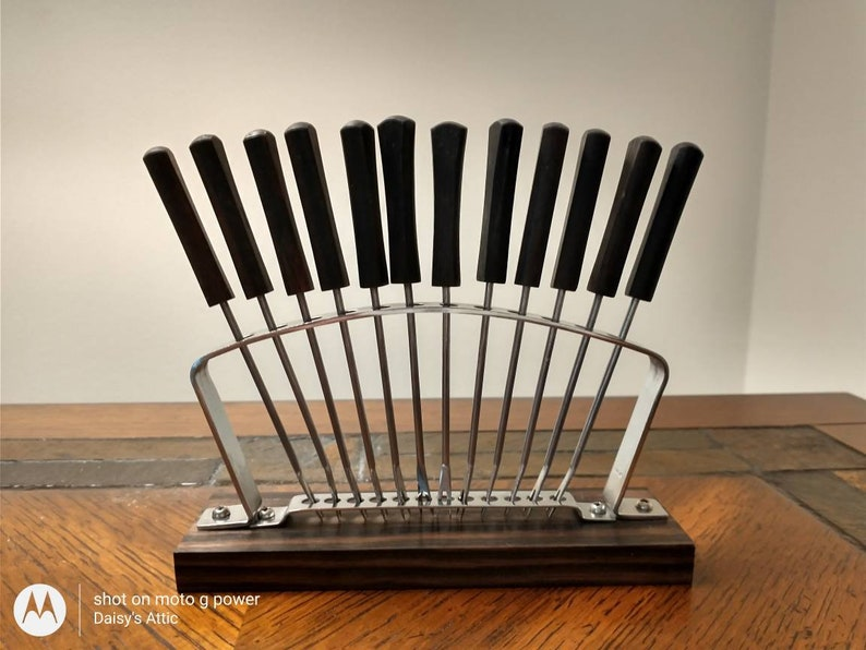 Vintage Wood and Stainless 13 Piece Hors D'oeuvre Forks image 0