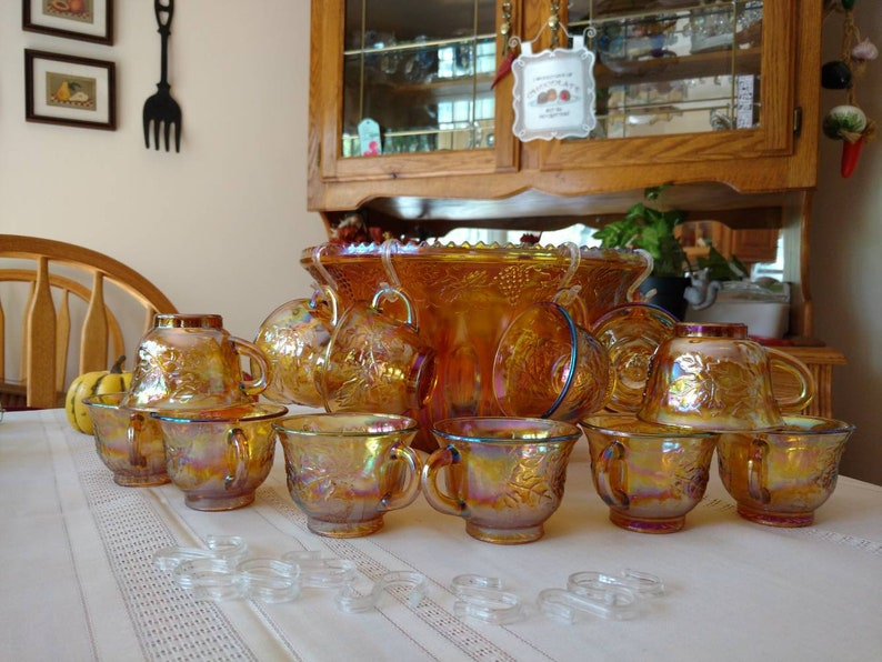 Indiana Amber Princess Carnival Glass 25 Piece Iridescent image 0
