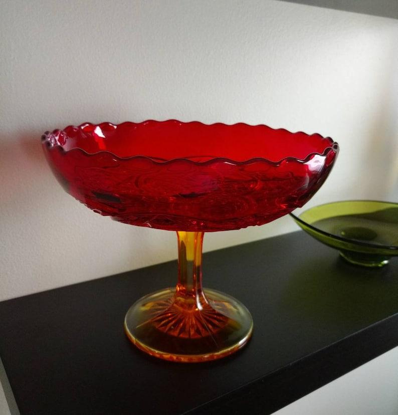 Viking Art Glass Yesteryear Amberina Footed Bowl 1902 image 0