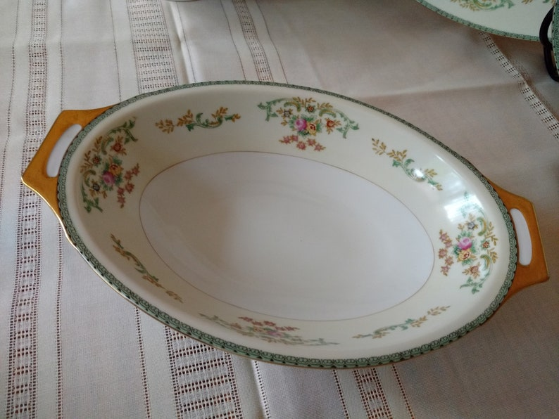 Meito Japan Hand Painted Green Scroll Floral Porcelain China image 0