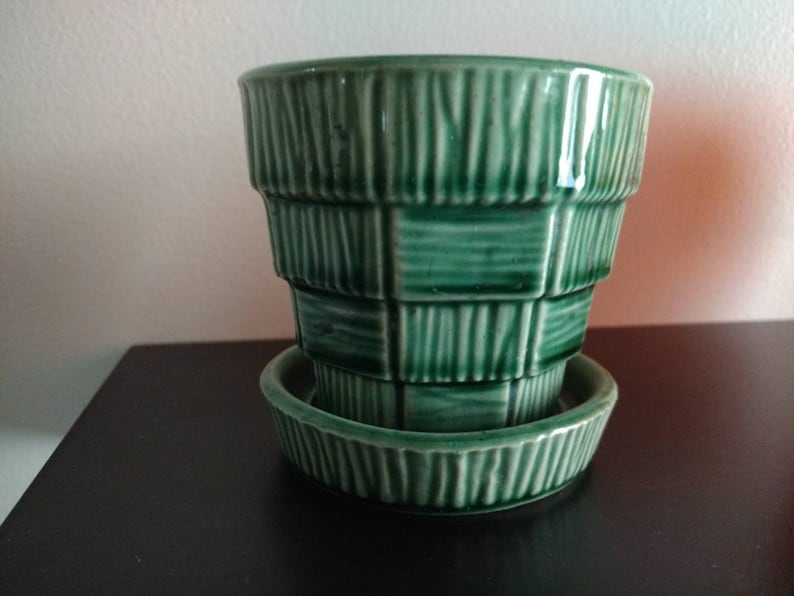 McCoy Pottery Green Basket Weave 3 inch Succulent Pot Herb image 0