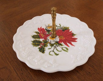 Westmoreland Milk Glass Paneled Grape Christmas Poinsettia Tidbit Cookie Dish