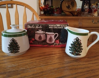 Georges Briard Yule Tide Christmas Tree Porcelain 3 Pc Creamer and Sugar Set in the Box