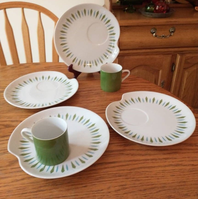 Vintage Mikasa China Mid Mod Green Blue Diamond Cup and Snack image 1