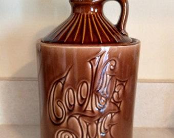 McCoy Pottery Brown Moonshine Jug 2 Piece Cookie Jar USA