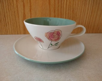 Iroquois Informal True China Long Stem Rosemary Cup and Saucer Set Ben Seibel Design