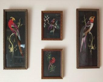 Vtg Mexican Folk Art Feathercraft Parrot Bird Painted Wall Hanging Set