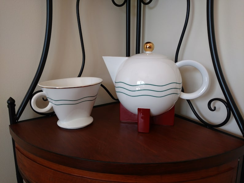 1980s Swid Powell Post Modern Big Dripper 3 Piece Coffee Pot image 0
