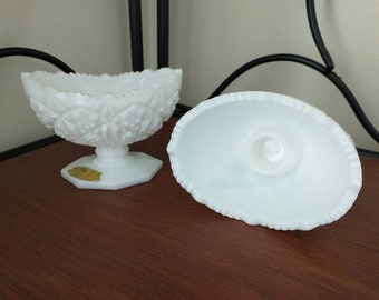 Kemple Milk Glass Toltec Sawtooth Oval Candlestick Holders