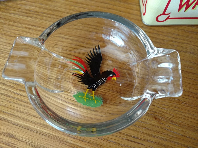 Federal Color King Black Rooster Glass Ashtray image 0