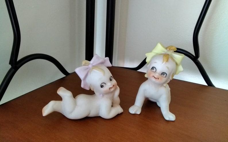 Vintage Bisque Porcelain Kewpie Doll Twin Figurines image 0
