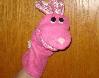 Pink Fleece & Daisy cotton Rabbit Bunny hand Puppet