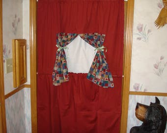 Doorway theater Stage pretend perform pockets in back for props curtain to conceal performer