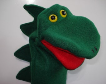 Dinosaur hand puppet movable mouth green  puppets by Margie